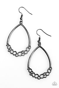 Paparazzi Geo Go-Getter Black Earrings