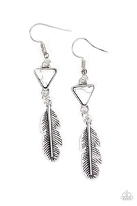 A shimmery silver feather charm swings from the bottom of a triangular white stone for a free-spirited look,