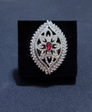 Load image into Gallery viewer, Large Teardrop Frame, Red stone, encrusted rhinestones.Features a stretchy band for a flexible fit.  Sold as one individual ring.  Always nickel and lead free.