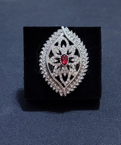 Large Teardrop Frame, Red stone, encrusted rhinestones.Features a stretchy band for a flexible fit.  Sold as one individual ring.  Always nickel and lead free.
