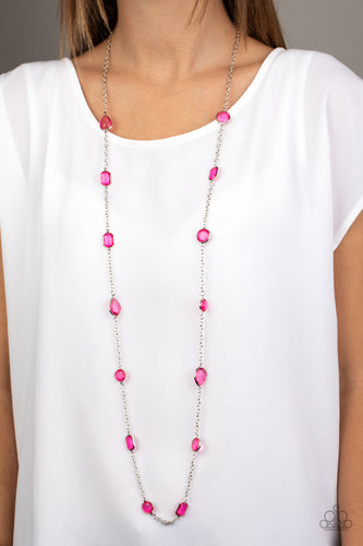 Featuring sleek silver fittings, an array of glassy pink gemstones trickle along a shimmery silver chain for a glamorous look. Features an adjustable clasp closure.  Sold as one individual necklace. Includes one pair of matching earrings.   Always nickel and lead free.  Item #P2WH-PKXX-320XX