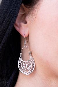 Brushed in a shiny silver finish, glistening filigree climbs a spade-shaped frame, creating a regal lure. Earring attaches to a standard fishhook fitting.  Sold as one pair of earrings.  Always nickel and lead free.