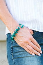Load image into Gallery viewer, Featuring round and teardrop shapes, clusters of faceted Quetzal Green beads swing from a shimmery silver chain, creating a playful fringe around the wrist. Features an adjustable clasp closure.  Sold as one individual bracelet.   Glimpses of Malibu Fashion Fix September 2018  Always nickel and lead free.