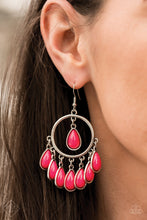 Load image into Gallery viewer, A fringe of pink beaded teardrops dangles from the bottom of a shiny silver hoop. A solitaire pink teardrop bead is suspended from the top of the hoop for a flirtatious finish. Earring attaches to a standard fishhook fitting.