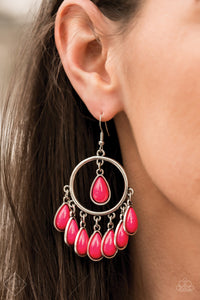 A fringe of pink beaded teardrops dangles from the bottom of a shiny silver hoop. A solitaire pink teardrop bead is suspended from the top of the hoop for a flirtatious finish. Earring attaches to a standard fishhook fitting.