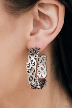 Load image into Gallery viewer, Vine-like filigree dances along a shimmery silver hoop for a seasonal look. Earring attaches to a standard post fitting. Hoop measures 1 1/2″ in diameter.