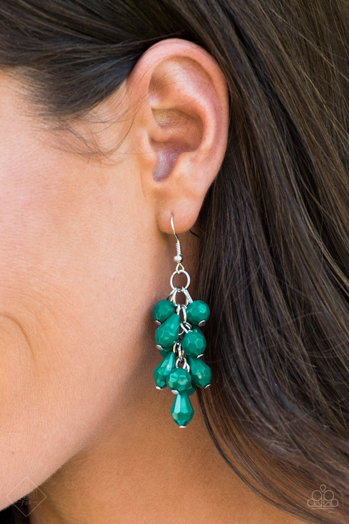 Featuring round and teardrop shapes, clusters of faceted Quetzal Green beads cascade from the ear, creating flirtatious fringe. Earring attaches to a standard fishhook fitting.  Sold as one pair of earrings.   Glimpses of Malibu Fashion Fix September 2018  Always nickel and lead free.
