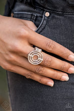 Load image into Gallery viewer, Pinched between two shiny silver fittings, shimmery textured hoops radiate into a dizzying frame atop the finger. Features a stretchy band for a flexible fit.   Glimpses of Malibu Fashion Fix  December 2018  Always nickel and lead free.