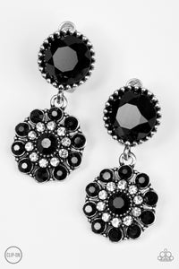 SOLD OUT!! Paparazzi Glittering Gardenias Black Clip On Earrings