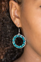 Load image into Gallery viewer, Featuring regal marquise style cuts, glittery blue rhinestones are encrusted along a shimmery silver hoop for a radiant fashion. Earring attaches to a standard fishhook fitting.  Sold as one pair of earrings. Always nickel and lead free.