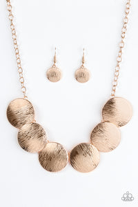 Paparazzi Glued To The SPOTLIGHT Rose Gold Necklace Set