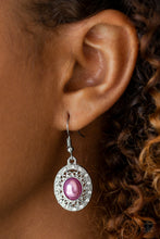 Load image into Gallery viewer, A pearly purple bead is pressed into the center of an ornate silver frame radiating with glassy white rhinestones for a regal look. Earring attaches to a standard fishhook fitting.  Sold as one pair of earrings.  Always nickel and lead free.