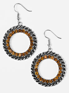 Paparazzi Grunge and Glitter Brown Earrings