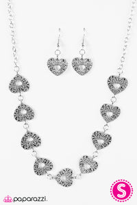 Paparazzi Hearts Harmony Silver Necklace Set