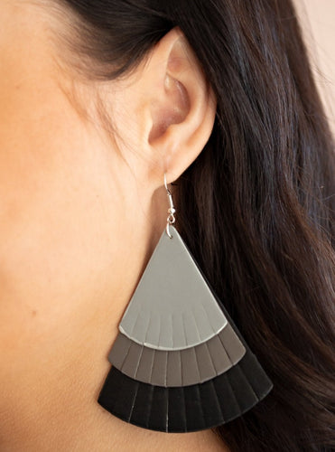 Featuring tapered edges, Ultimate Gray, gray, and black leather triangular frames delicately overlap into a colorfully rustic frame. Earring attaches to a standard fishhook fitting.  Sold as one pair of earrings.  Always nickel and lead free.