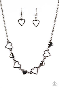 Paparazzi Hustle and Heart Black Necklace Set
