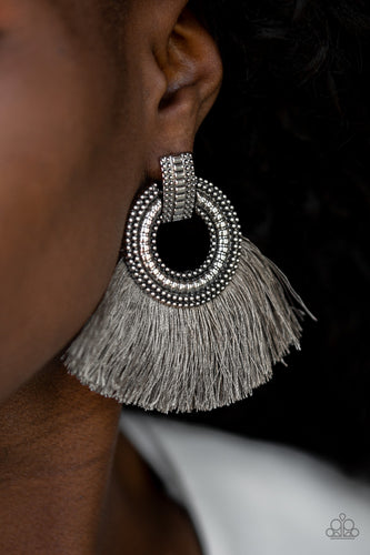 A plume of shiny gray thread flares out from the bottom of an ornate silver fitting, creating a fierce fringe. Earring attaches to a standard post fitting.  Sold as one pair of post earrings.  Always nickel and lead free.