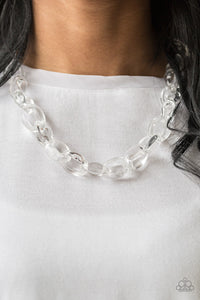 Glassy links connect below the collar, creating a colorfully, modern chain. Features an adjustable clasp closure.  Sold as one individual necklace. Includes one pair of matching earrings.  Always nickel and lead free.