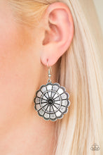 Load image into Gallery viewer, Shimmery silver petals bloom from a black center for a seasonal look. Etched in serrated edges, alternating petals have been delicately hammered in texture, adding depth and shimmer to the whimsical frame. Earring attaches to a standard fishhook fitting.  Sold as one pair of earrings.  Always nickel and lead free.