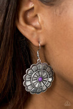 Load image into Gallery viewer, Shimmery silver petals bloom from a vivacious purple center for a seasonal look. Etched in serrated edges, alternating petals have been delicately hammered in texture, adding depth and shimmer to the whimsical frame. Earring attaches to a standard fishhook fitting.  Sold as one pair of earrings.  Always nickel and lead free.