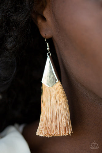 A plume of shiny brown thread streams out from a triangular silver fitting, creating a flirty tassel. Earring attaches to a standard fishhook fitting.  Sold as one pair of earrings.  Always nickel and lead free.