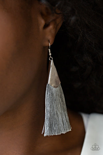 A plume of shiny gray thread streams out from a triangular silver fitting, creating a flirty tassel. Earring attaches to a standard fishhook fitting.  Sold as one pair of earrings.  Always nickel and lead free.