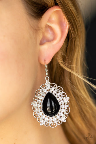 An oversized black teardrop bead is pressed into a swirling silver backdrop encrusted in a dazzling ring of glassy white rhinestones for a glamorous finish. Earring attaches to a standard fishhook fitting.  Sold as one pair of earrings.  Always nickel and lead free.  Item #P5RE-BKXX-319XX