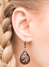 Load image into Gallery viewer, Etched in shimmer, copper vine-like filigree climbs a copper teardrop for a tribal inspired look. Earring attaches to a standard fishhook fitting.  Sold as one pair of earrings.  Always nickel and lead free.