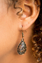 Load image into Gallery viewer, Etched in shimmer, brass vine-like filigree climbs a brass teardrop for a tribal inspired look. Earring attaches to a standard fishhook fitting.  Sold as one pair of earrings.  Always nickel and lead free.