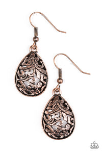 Etched in shimmer, copper vine-like filigree climbs a copper teardrop for a tribal inspired look