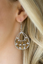 Load image into Gallery viewer, Varying in shape, glowing brown moonstones and glittery white rhinestones are sprinkled along the bottom of a shimmery silver teardrop for a whimsical look. Earring attaches to a standard fishhook fitting.  Sold as one pair of earrings.  Always nickel and lead free.