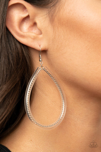 A dainty silver chain-like wire is threaded through the center of an invisible tube, creating an edgy teardrop. Earring attaches to a standard fishhook fitting.  Sold as one pair of earrings.  Always nickel and lead free.