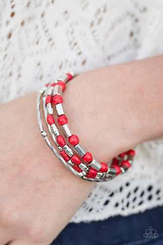 Brushed in a faux rock finish, dainty red beading and shimmery silver accents alternate along a coiled wire to create an earthy infinity wrap style bracelet.  Sold as one individual bracelet.  Always nickel and lead free.