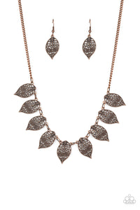 Paparazzi Leafy Lagoon Copper Necklace Set