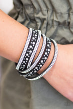 Load image into Gallery viewer, Bubbly silver studs, and rows of glittery white rhinestones are encrusted along strips of black suede. The elongated design allows for a trendy double wrap around the wrist. Features an adjustable snap closure.  Sold as one individual bracelet.  Always nickel and lead free.