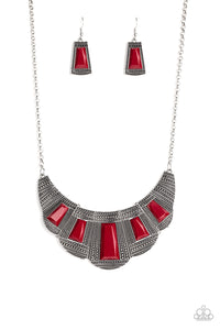 Paparazzi Lion Den Red Necklace Set