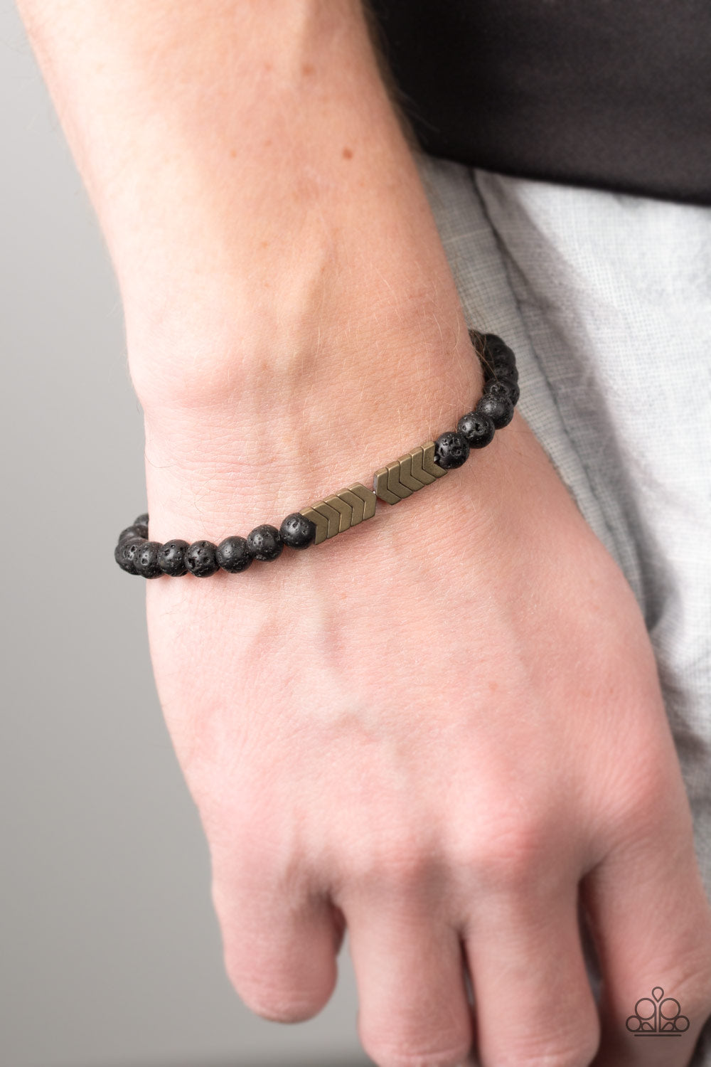 Lost Arrow Brass Lava Rock Urban Bracelet