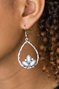 Shiny gray beads adorn the bottom of a hammered silver teardrop, coalescing into a whimsical lotus pattern. Dainty white rhinestones flank the shiny beads for a refined finish. Earring attaches to a standard fishhook fitting.  Sold as one pair of earrings.  Always nickel and lead free.