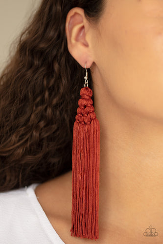 Woven into an intricate frame, shiny Cinnamon Stick tassels stream from the ear, creating a majestic fringe. Earring attaches to a standard fishhook fitting.  Sold as one pair of earrings.  Always nickel and lead free.