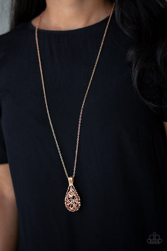 Brushed in a high-sheen finish, shimmery rose gold filigree joins into an airy 3-dimensional pendant at the bottom of a lengthened rose gold chain for a whimsical look.   Sold as one individual necklace. Includes one pair of matching earrings.   Always nickel and lead free.