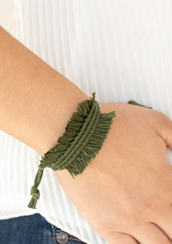 Strands of shiny Military Green twine-like cording decoratively knot around the wrist, crea  Sold as one individual bracelet.  Always nickel and lead free.