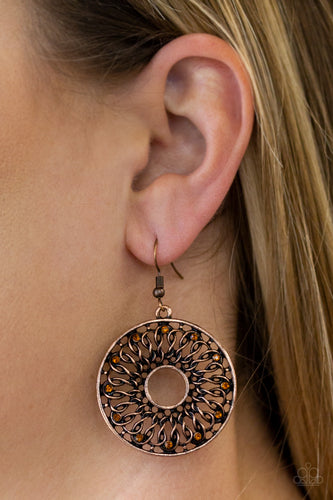 Dotted in dainty rhinestones, glistening copper wires twist and interlock inside of a shimmery copper hoop for a whimsical look. Earring attaches to a standard fishhook fitting.  Sold as one pair of earrings.  Always nickel and lead free.