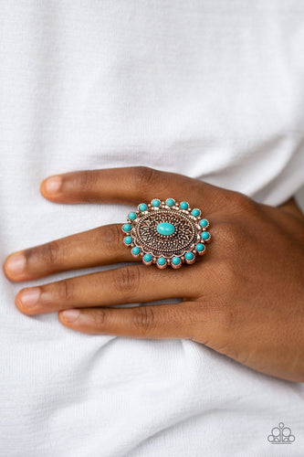 Embossed in dizzying floral details, a shimmery copper frame is dotted with refreshing turquoise stone accents for a seasonal look. Features a stretchy band for a flexible fit.  Sold as one individual ring.  Always nickel and lead free