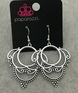 Dotted in dainty silver studs, antiqued silver frames swirl into an ornate design for a vintage inspired look. Earring attaches to a standard fishhook fitting.  Sold as one pair of earrings.  Always nickel and lead free.  Fashion Fix July 2020 Exclusive