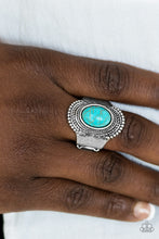 Load image into Gallery viewer, A refreshing turquoise stone is pressed into the center of an antiqued silver frame radiating with studded and rope-like textures for an artisan inspired look. Features a stretchy band for a flexible fit.  Sold as one individual ring.  Always nickel and lead free.