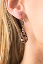 Load image into Gallery viewer, Featuring an airy 3-dimensonal frame, an airy filigree filled teardrop swings from the ear in a casual fashion. Earring attaches to a standard fishhook fitting.  Sold as one pair of earrings.  Always nickel and lead free.