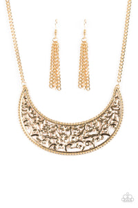 Paparazzi Moroccan Moon Gold Necklace Set