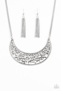 Paparazzi Moroccan Moon Silver Necklace Set