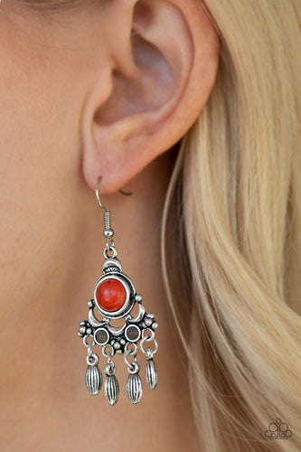 Dotted with earthy orange and gray stone accents, an ornate silver frame gives way to a silver beaded fringe for a seasonal look. Earring attaches to a standard fishhook fitting.  Sold as one pair of earrings.  Always nickel and lead free.