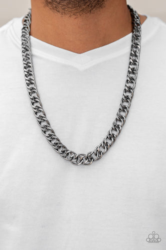 Featuring double links, an over sized gunmetal beveled cable chain drapes across the chest for a sleek, upscale look. Features an adjustable clasp closure.  Sold as one individual necklace.  Always nickel and lead free.